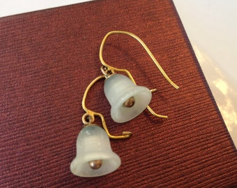 Vintage Victorian Rock Crystal Earrings, Antique Edwardian 10K Gold Feldspar Earrings, Moonstone Earrings, Estate Jewelry, 1800s Jewelry