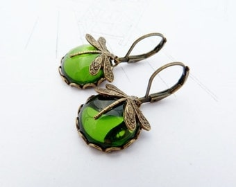 MossMoons glass cabochon brass dragonfly earrings victorian style
