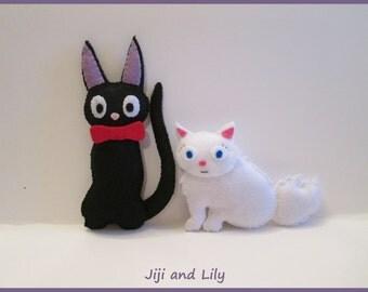 Set of 2 Plushes,Lily Plush, Jiji Plush, Kiki's Delivery Service, Studio Ghibli Plush, White Cat Plushie, Black Cat Plushie