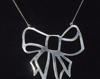 Unique Large Silver Bow Necklace