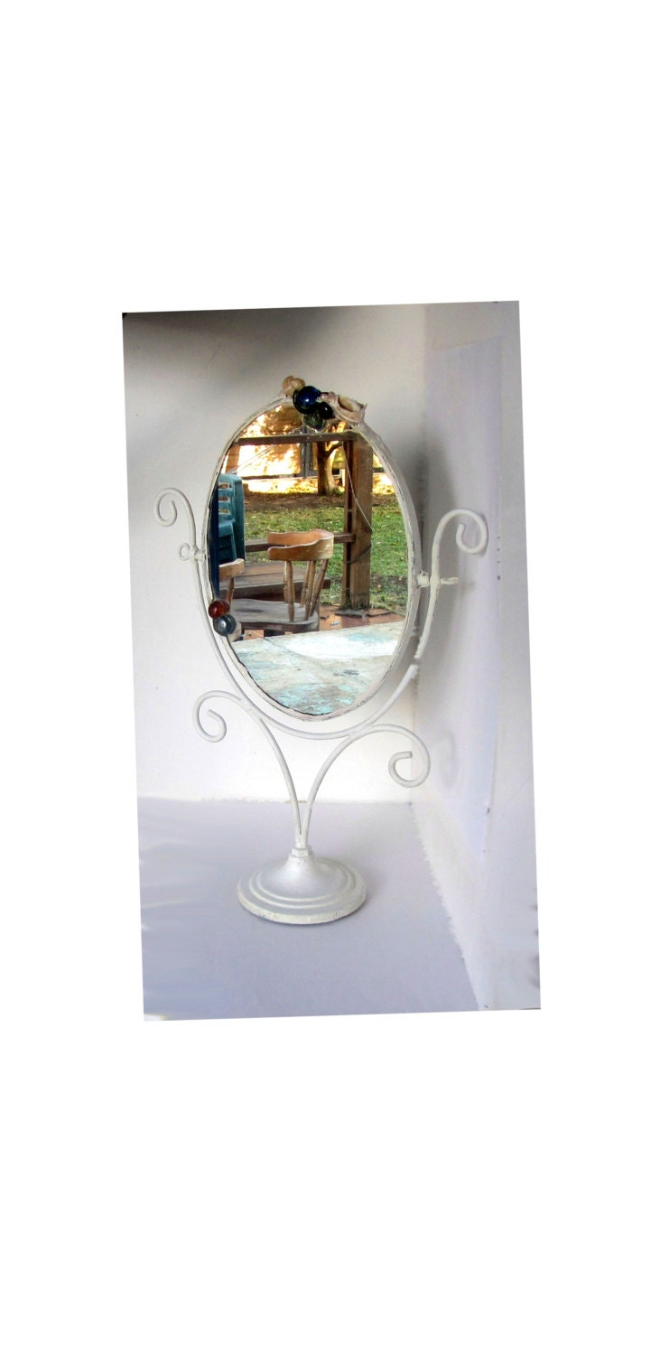 Shabby vanity mirror standing white by underlyingsimplicity for White stand up mirror