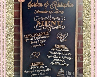Handwritten & Customizable Wedding Menu Sign 23x35