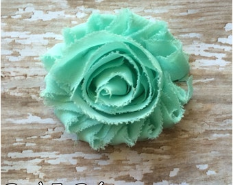 Soft Aqua Blue Shabby Chic Flower Hair Clip, Aqua Hair Bow,  Sea Foam Flower Barrette, Girls Headband Clip, Hair Bow, Flower Girl Accessory
