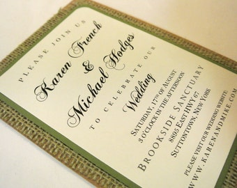 Rustic Burlap Wedding Invitation - Sage Green Garden Forest Burlap Wedding Invitation