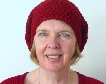 Red Slouchy Hat Red Slouchy Beanie Crocheted Hat Christmas Crocheted Hat Hand Made