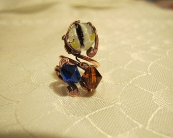 Blue Amber and Yellow Ring. Handmade Ring set with Colorful Glass Beads (Blue Amber and Yellow). Copper Wire Wrapped Ring.