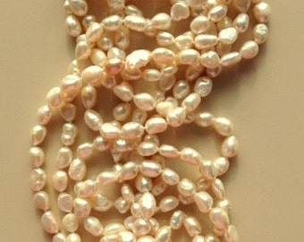 Very Long Freshwater Pearl Necklace 100 inches of Pearls - Downton Abbey Style