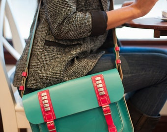 Equis All Day Real Leather Satchel / Messenger Bag; Designed & Handmade in the UK - Turquoise