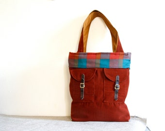 Large winter tote bag in rusty colour  with country  stripe