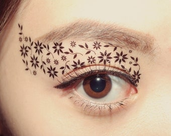 Temporary Tattoo  Makeup Eye applique Eyeshadow Black Blossom Cosplay Party Masquerade Mask festival christmas stocking stuffer accessories