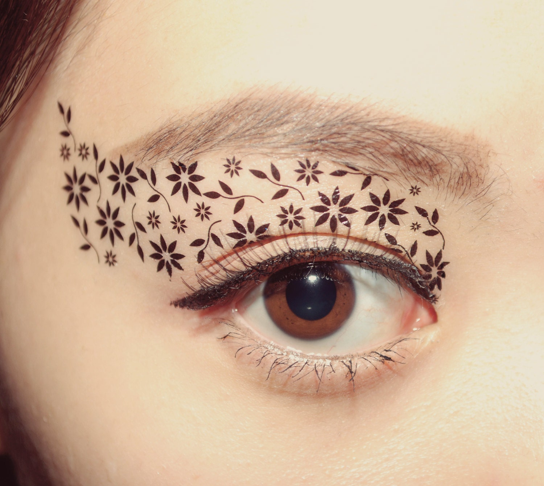 Temporary tattoo makeup eye applique eyeshadow black by for Eye temporary tattoo makeup