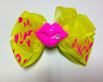 YELLOW PINK KISS Bow
