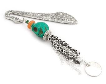Green Skull Bookmark Metal Chain Tassel Bookmark Beaded Brass Bookmark Skull Bookmark Gift Gemstone Bookmark Green Bookworm gift