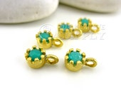 5 pc Faceted Aqua Jade Mini Drop Charms, Prong Set Matte 22K Gold Plated Brass Jade Charms, Turkish Jewelry