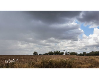 The Coming Rain Fine Art Photography Texas farmhouse rainstorm clouds fields dramatic rural route fields country windmill simple life art