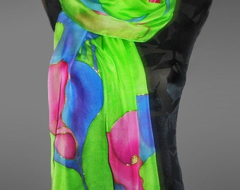 Hand-painted silk scarf . Green silk scarf. Floral silk scarf. Summer scarf. Bright silk scarf. Large silk scarf. Made to order.