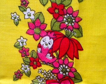 Vintage Pink Red & Yellow Bird Floral Print 100% Linen Kitchen Tea Towel - Made in Hungary - New Old Stock