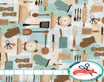 KITCHEN Fabric by the Yard, Fat Quarter Brown & Aqua Fabric Cooking Fabric Apron Fabric 100% Cotton Fabric Quilt Fabric Apparel Fabric w8-14