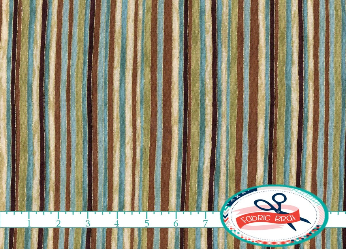 Teal brown fabric by the yard fat quarter stripe fabric for Cloth by the yard