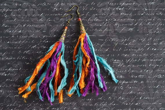 Gypsy style sari silk earrings