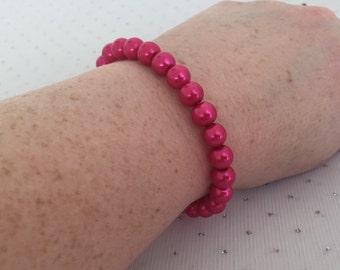 Dark Pink Pearl Bracelet, Pink Wedding Jewelry, Pink Bridesmaid Jewelry, Pink Glass Beaded Bracelet, Pink Bridal Bracelet, Beaded Jewelry