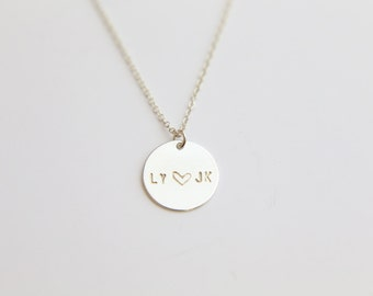 Personalized Name Disc necklace - Personalized Round Coin discGold filled or Sterling silver // Gift for her under 30 // EP017