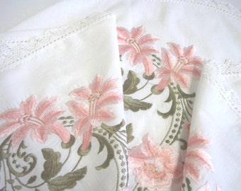 Vintage Oval Embroidered Linen Tablecloth, Peach Lilies with Crocheted Lace Trim
