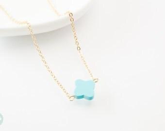 Clover necklace, clover charm, cute charm necklace, gold charm necklace, gold necklace, cute necklace, dainty necklace, gold clover necklace