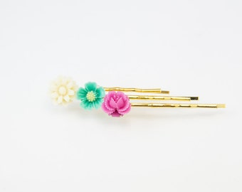 Flower Bobby Pin, flower hair pin, spring hair pin, spring bobby pin, hair pin for kid, floral hair pin, bobby pin