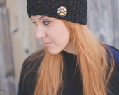 Seed Stitch Headband w/ Buttons - Black w/ Multicoloured button