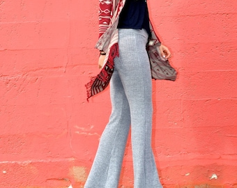 CHALET RIBBED SWEATER knit crochet pants! fall fashion winter style bell bottom boho yoga gypsy hippie chic flare pants