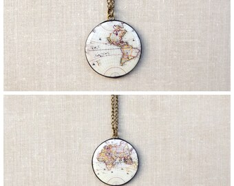 World map necklace  Etsy