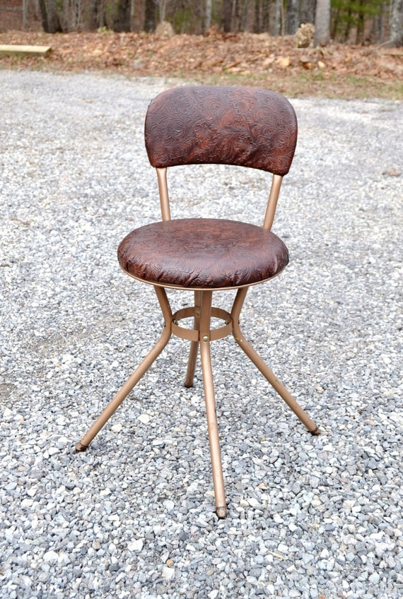 Sale Vintage Cosco Swivel Kitchen Stool Chair Bronze Color