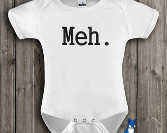funny baby clothes, Meh., cute baby clothing, gender neutral baby clothing, by Blue Fox Apparel *214