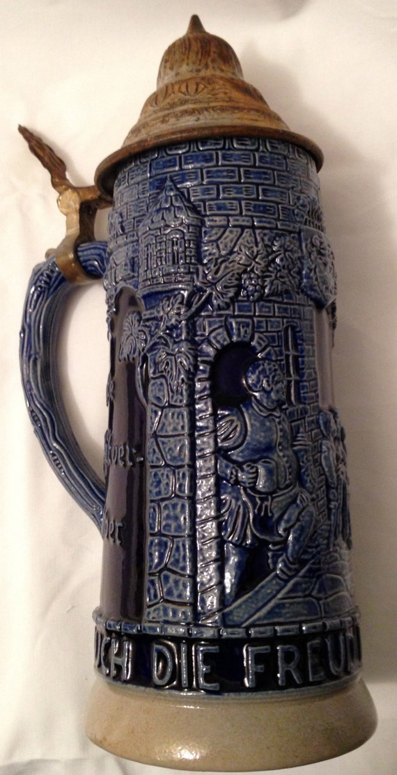 Antique Pre Wwii German Beer Stein Navy Blue Ceramic Salt