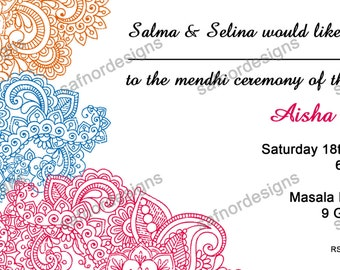 DIY Printable Paisley Mendhi Invitation