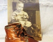 Old Bronzed BABY SHOE-Bronze Baby Bootie- Old Time Keepsake-Baby Walker Shoe- Cute Country Chic Decor- Memory Keeper- Craft Shoe- Home Decor