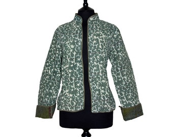 KANTHA JACKET - Large - Short style - Size 12/14 - Green design. Reverse rust and olive green.