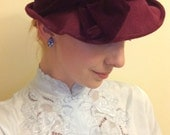 REDUCED Sculpted 1940s/1930s burgundy hat