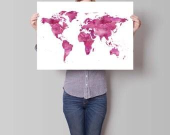 Map Watercolor Print, World Map Art, Motivational Wall, World Map Poster, Wanderlust, Inspirational Quote, Watercolor Art