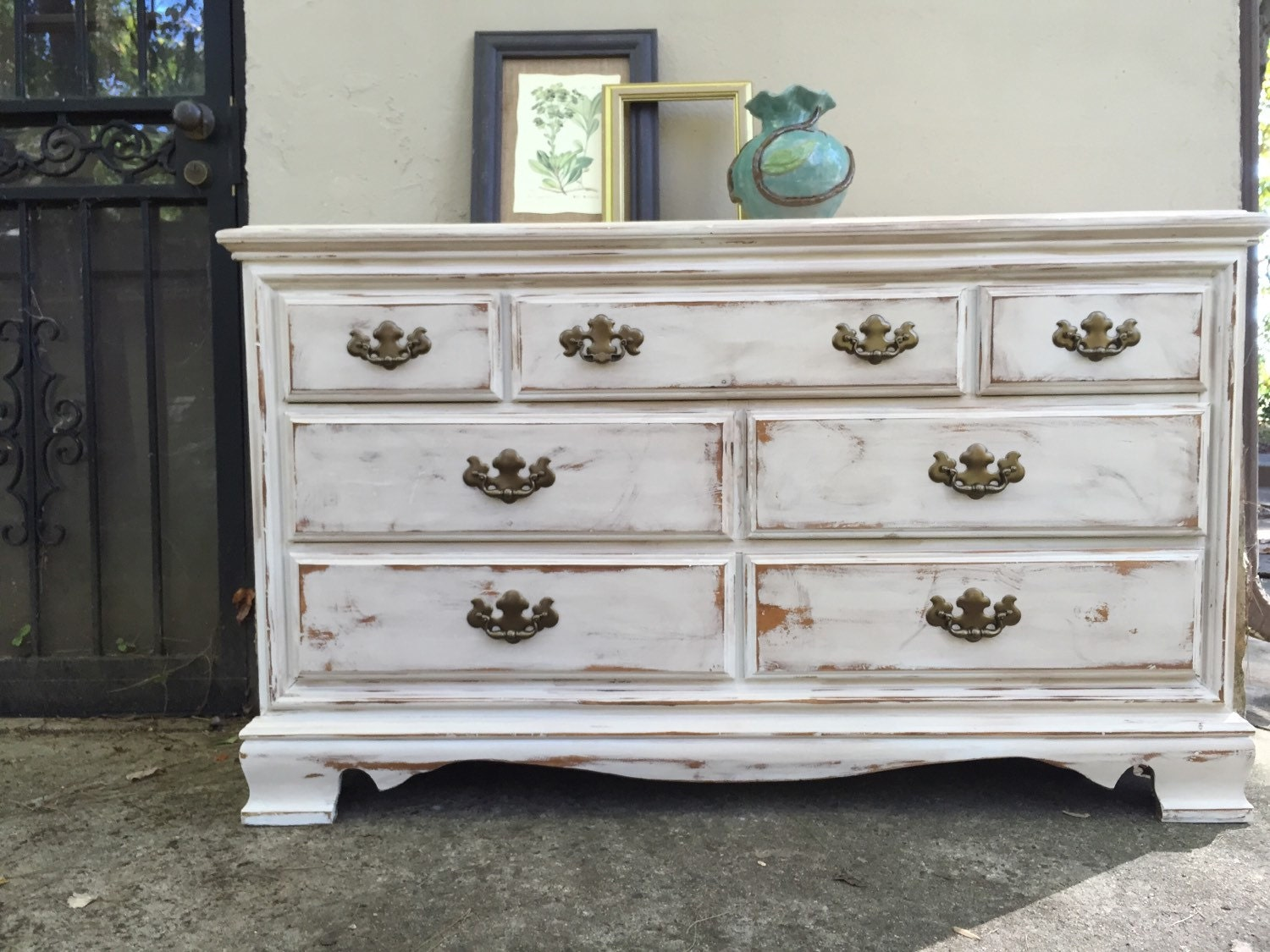 Painted dresser distressed antiqued sideboard bedroom white Antique bedroom dressers and chests