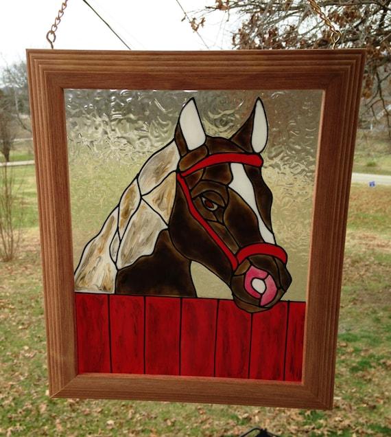 Horse framed art horse stained glass look handmade window for Decoration fenetre vitrail
