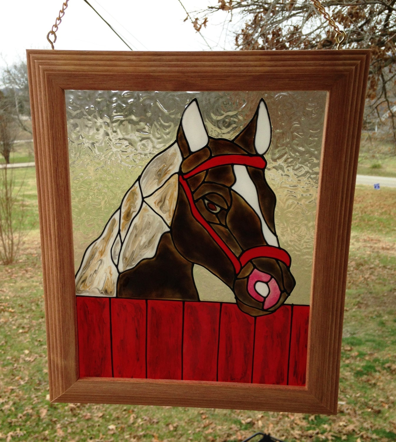 Horse framed art horse stained glass look handmade window for Window horses