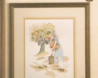 CROSS STITCH PATTERN - An Offering Girl With Geese Cross Stitch Chart Stitch Pattern - Leisure Arts 583