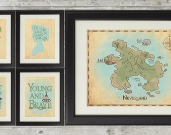 Peter Pan Nursery, Neverland Nursery, Peter Pan Nursery Art, Neverland Series Gallery Wall Set