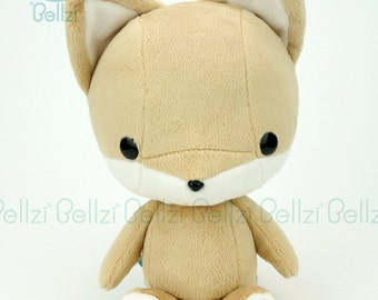 "Bellzi® Cute Stuffed Animal ""Brown"" w/ White Contrast Fox Plushie Doll - Foxxi"