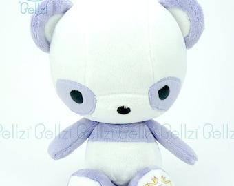 """Bellzi® Cute """"Purple"""" w/ White Contrast Panda Stuffed Animal Plush - Pandi"""