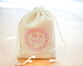 It's A Girl Baby shower 6 muslin bag with stamp gift sack party favor
