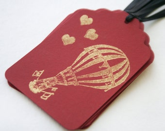 Hot air balloon love Wedding Tag Set 6 Blank holiday party treat tag Valentine's day