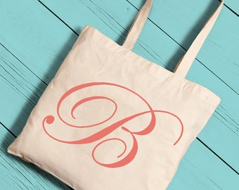 Personalized Initial Tote Bag - Canvas Tote (1258)
